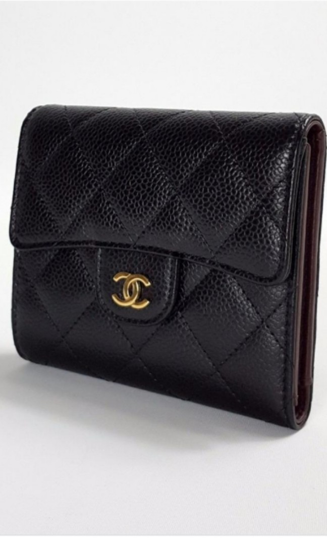 36d95a834a91 Brand New Chanel Classic Flap Trifold Wallet in Black Caviar Leather ...