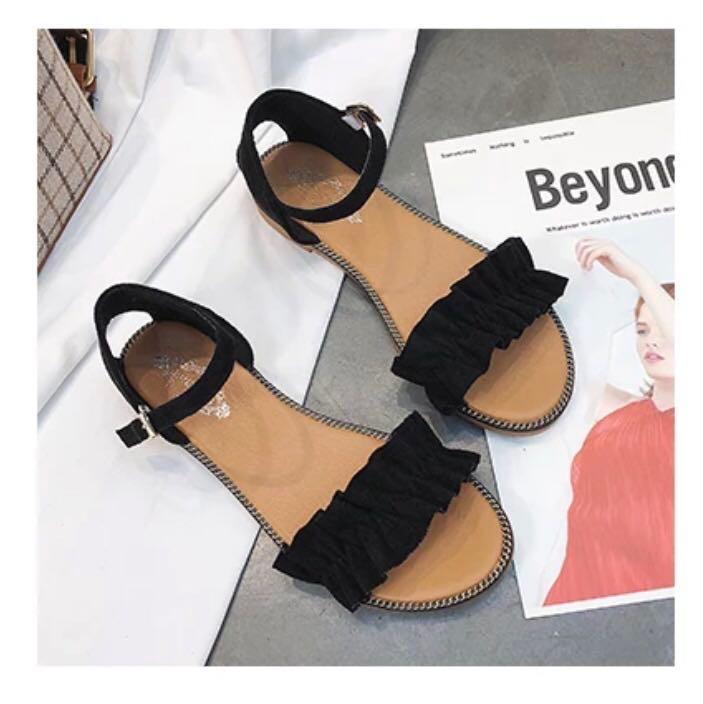 72972d2abd65 cute black ruffles sandals