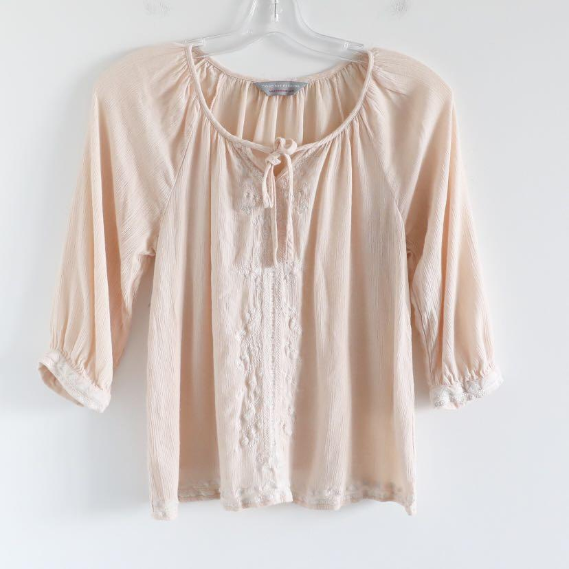 Dorothy Perkins small boho blouse peach cream beige peasant top 4