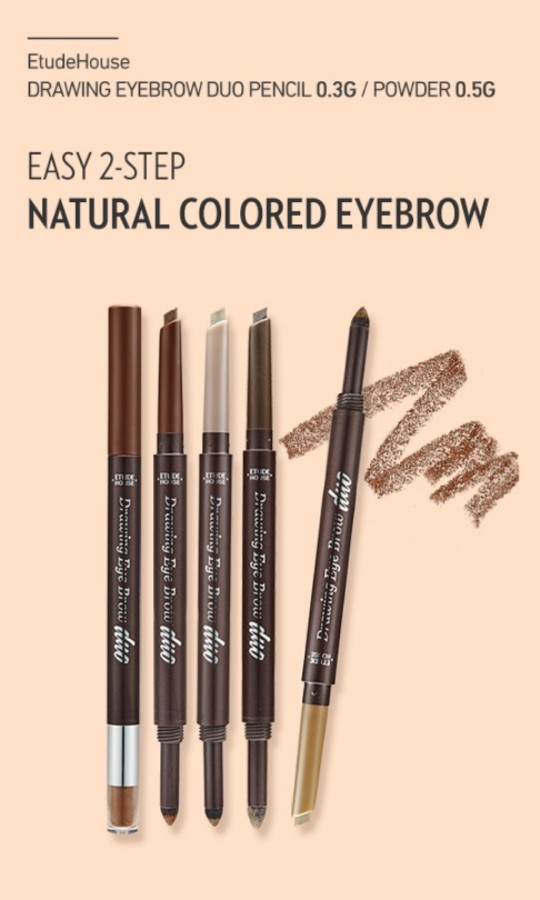 Etude house drawing eyebrow duo (dark brown), Health & Beauty, Makeup on Carousell