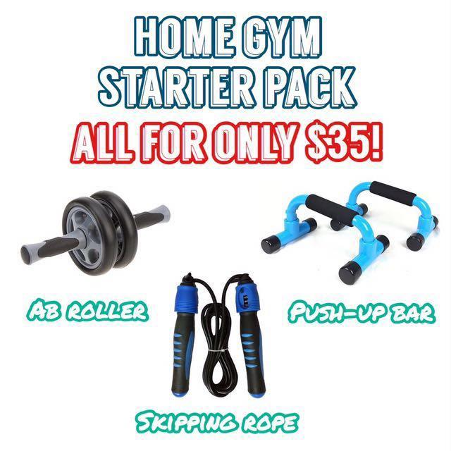 Home Gym Starter Pack - Ab Roller, Push Up Bar, Skipping Rope with Counter