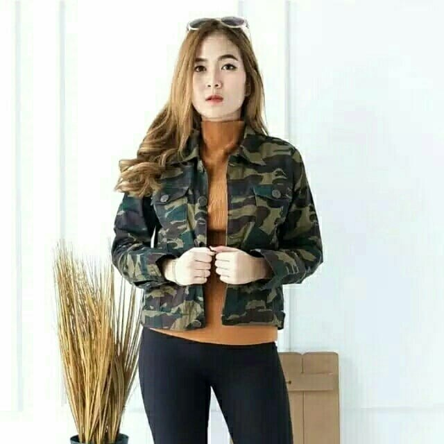 Jaket wanita Flage Jeans Jaket Darkgreen Loreng jaket army jaket denim, Women's Fashion, Women's Clothes, Outerwear on Carousell