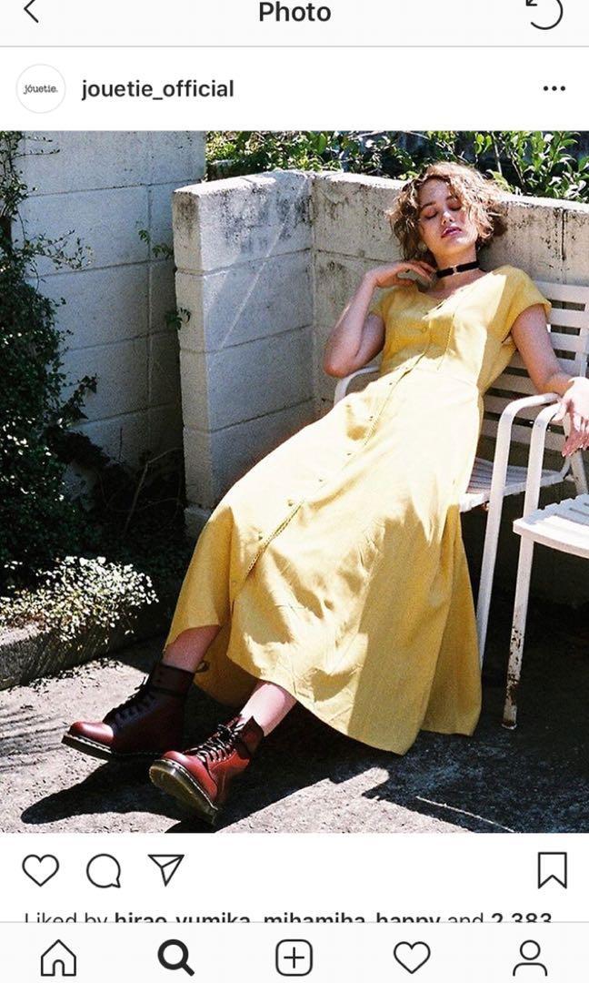 Japan jouetie vintage style mustard yellow button down tie back long dress
