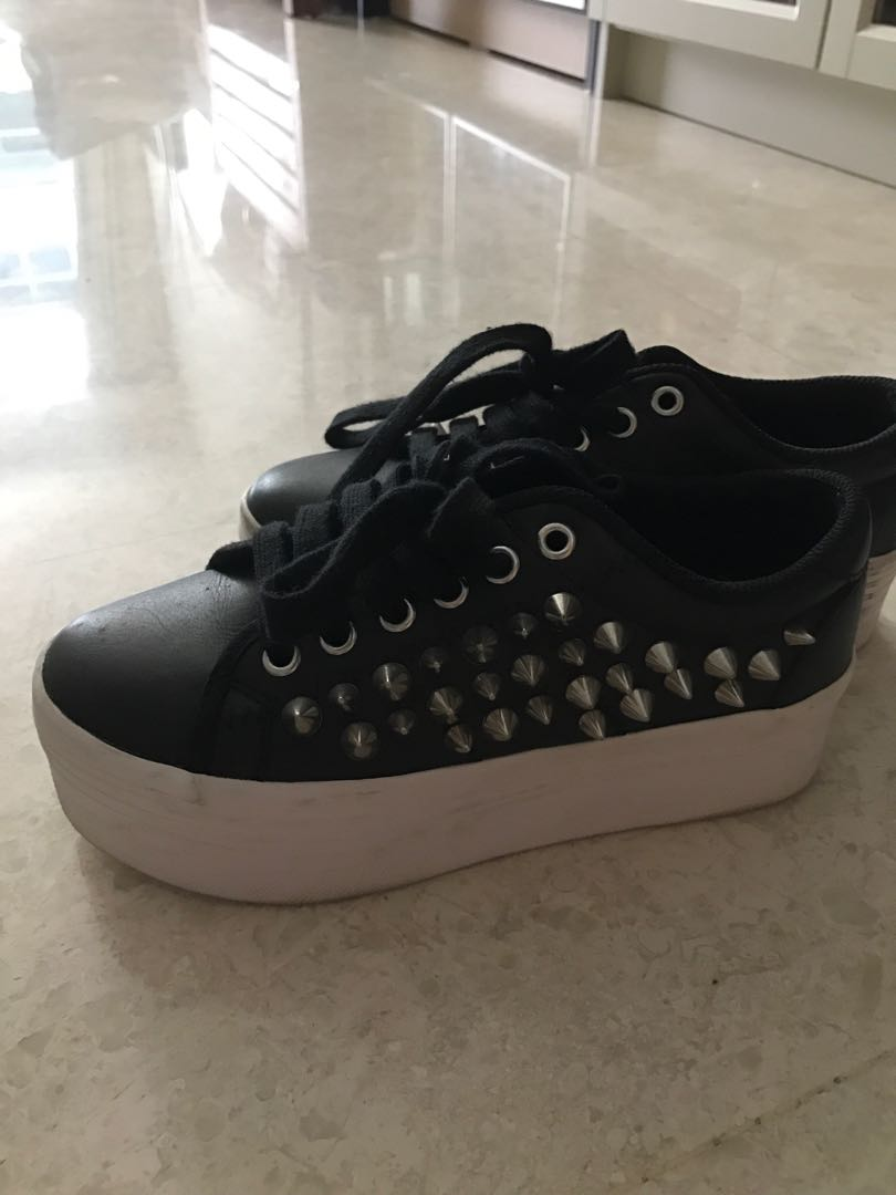 56c9a2147ce Jeffrey Campbell ZOMG studded sneaker in black and white