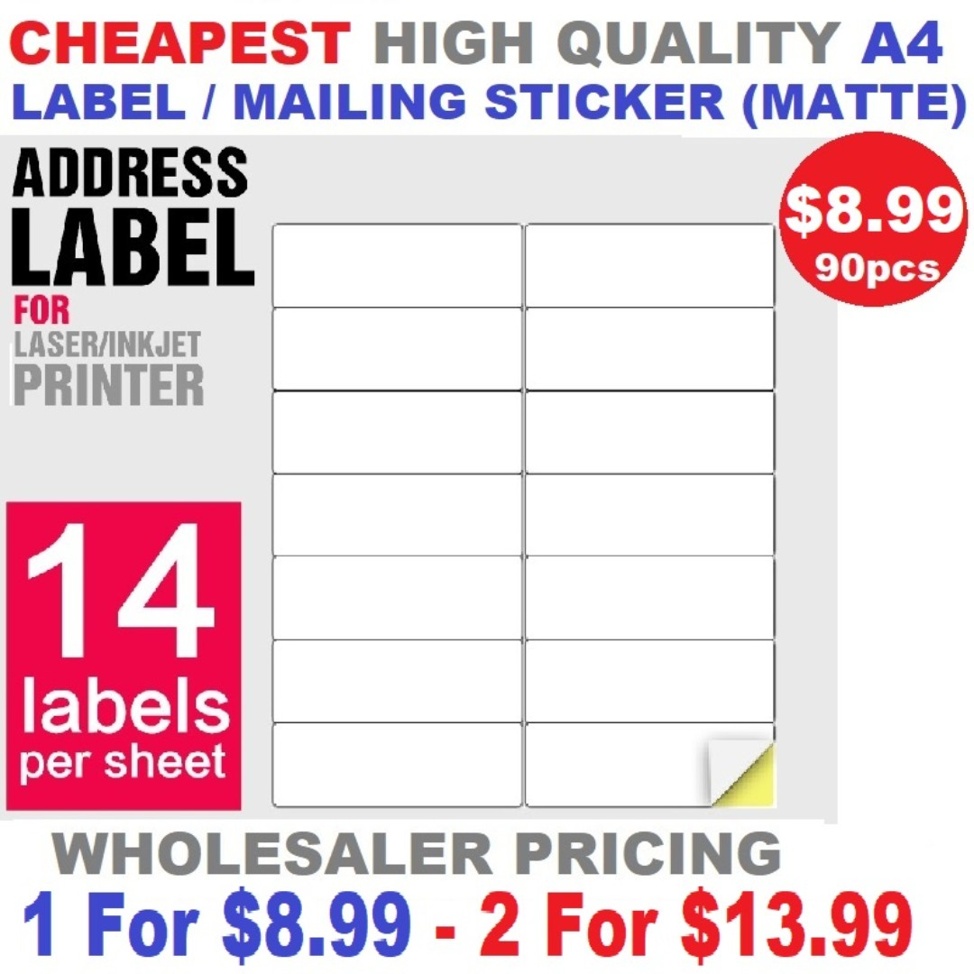 Label / Mailing Sticker Matte A4 Size Cheap High Quality