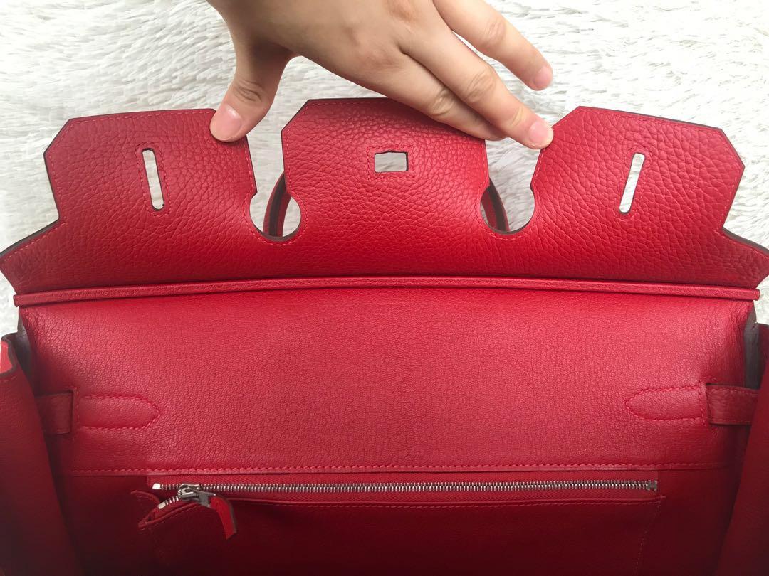 43d294396c6 Like New Full Set⚡️Hermes Birkin 35 Red PHW Stamp Q