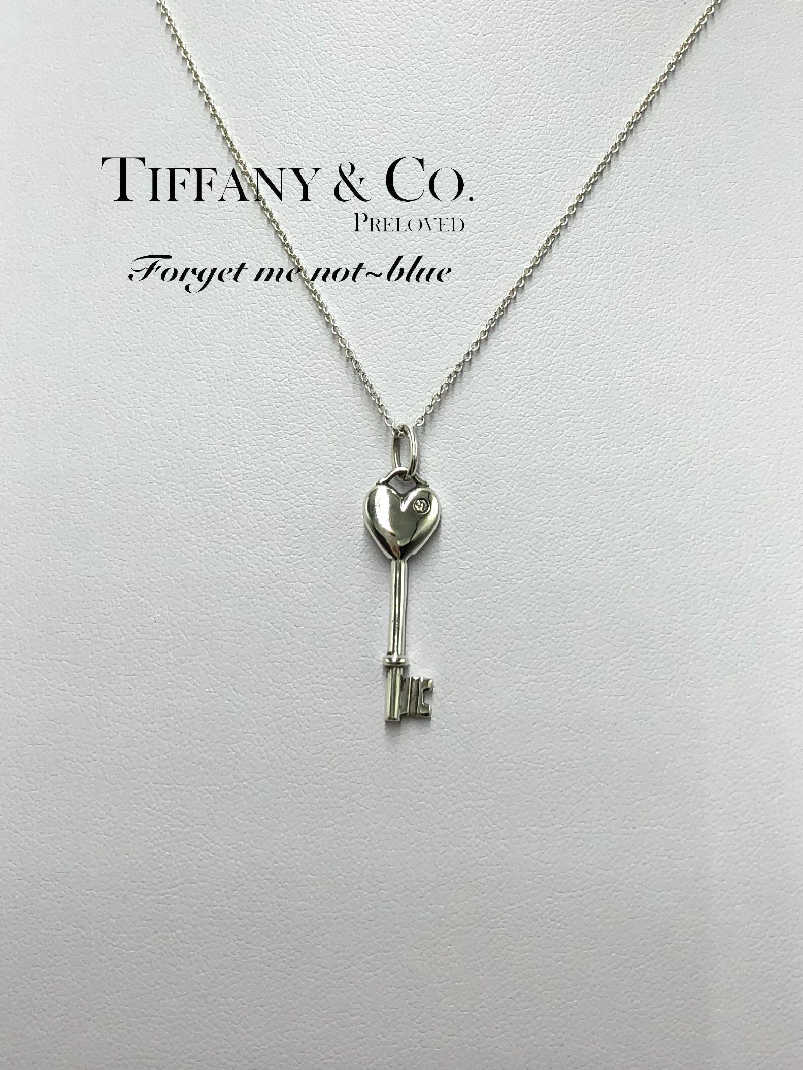 3ec7268ea MINT! Authentic Tiffany & Co. Diamond Heart Key Pendant Necklace ...
