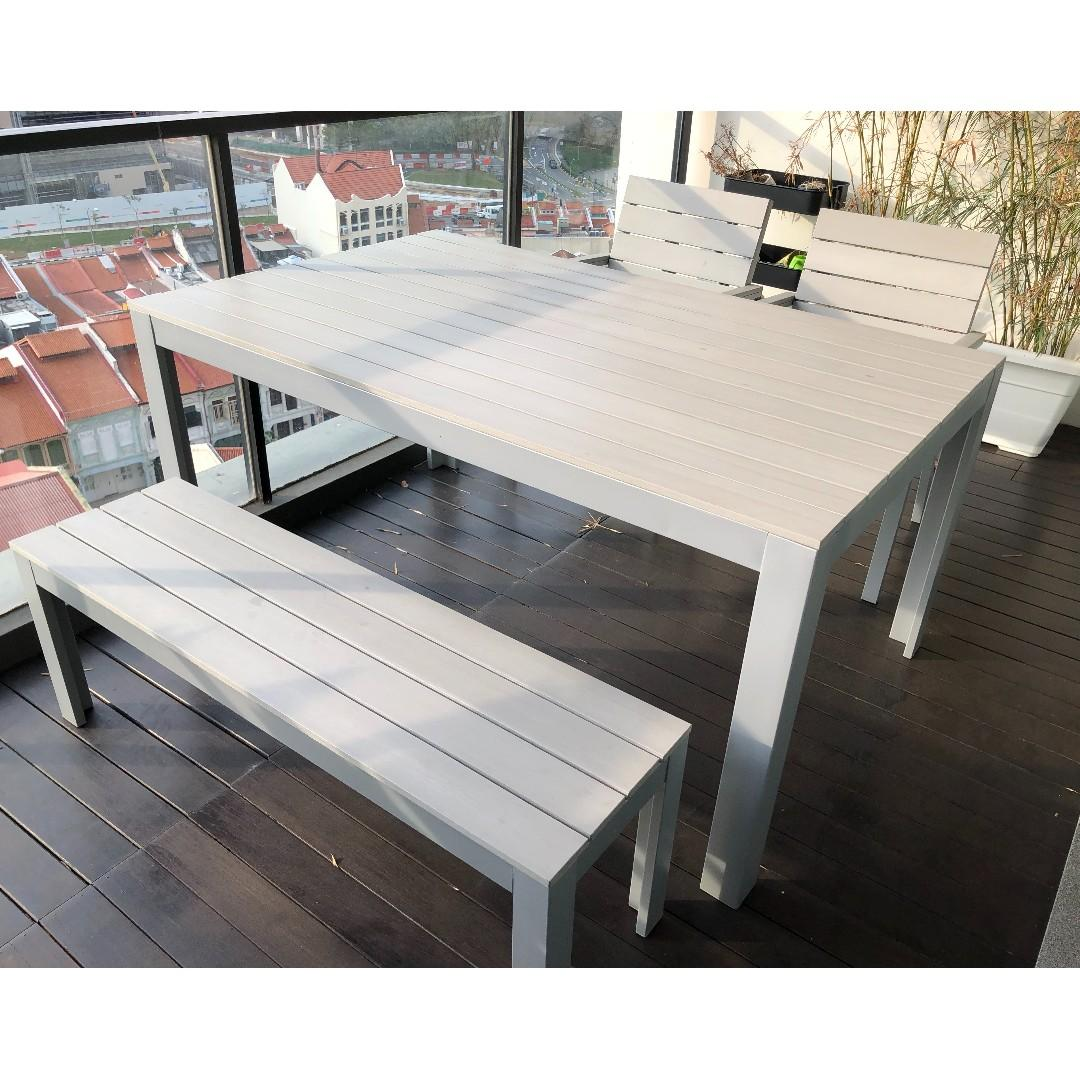 Outdoor Table Bench And Chairs Ikea Falster Gray Furniture Tables Chairs On Carousell