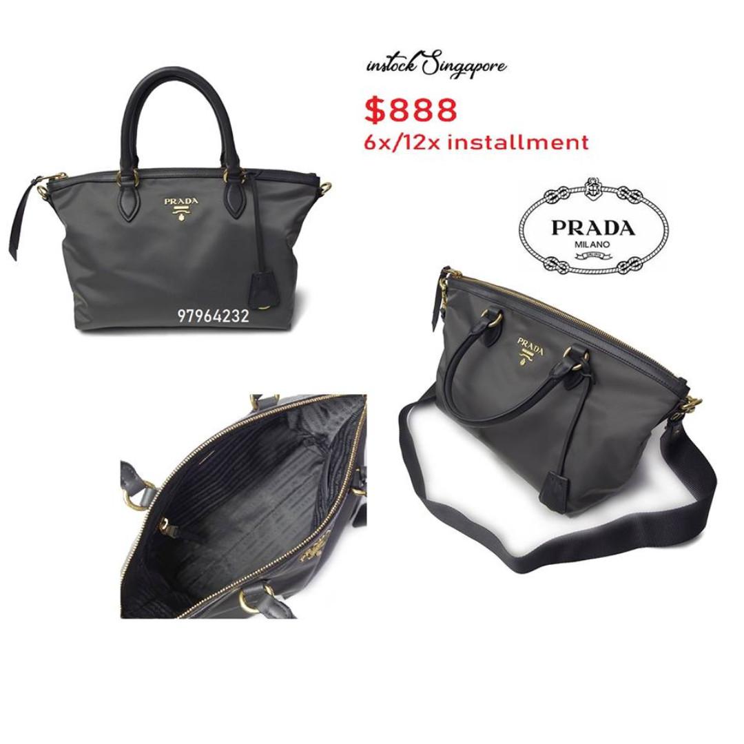 a2d53eb1e8c3 ... official store ready stock authentic new prada tessuto grey nylon  satchel bag sling messenger bag handbag