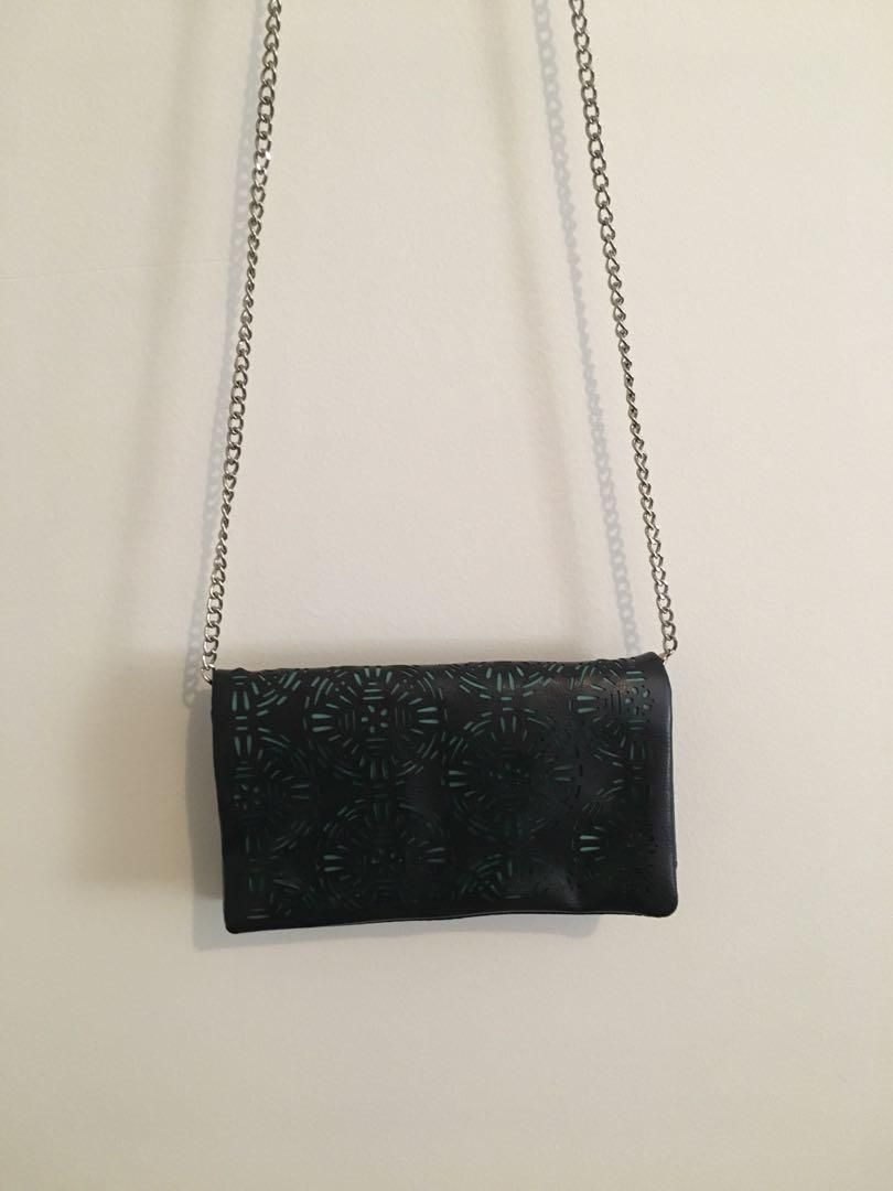 Wallet on a chain black and blue laser cut