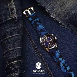 🚚 V3 Silicone Strap in Blue Camo (available in 22 and 24mm)