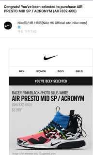 Nike Presto Mid SP / Acronym US10