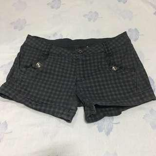 Black/gray Checkered Denim Shorts
