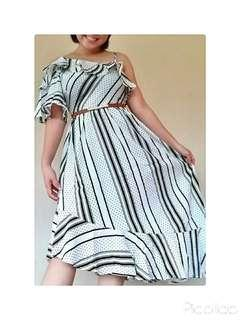 Customer's Order One Shoulder Black & White Striped Midi Beach/Dinner Dress