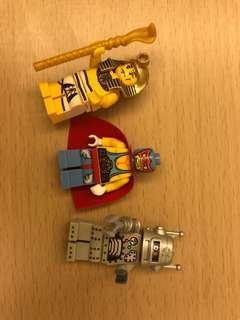 Lego 人仔 Minifigures 3隻 舊款 有法老王 筋肉人 機械人