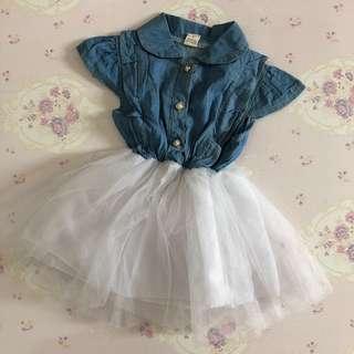 Preloved Jeans Tulle Girl Dress