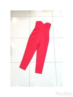 H&M Red Sweetheart Neckline Tube Jumpsuit
