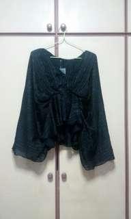 ❤ Black Kimono Pelpum Top