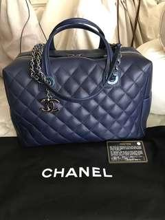 *Very New*Chanel Bowling Quilted Classic Bag Medium Navy Calf Shw #22