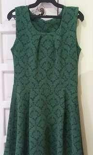 Printed emerald green skater dress