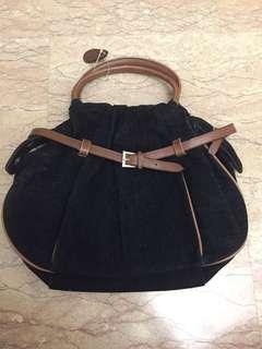 Black brown leather handbag