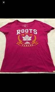 🚚 Roots桃紅色上衣M