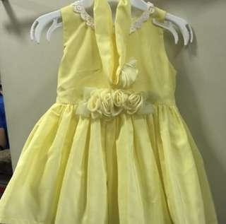 Elegant Light yellow baby gown/dress with turban