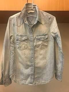 Mango XS淡藍牛仔襯衫