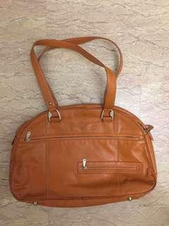 Leather Bag orange laptop work smart casual