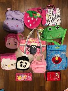 Barbie / hello kitty / girls bags / backpacks. Further reduced to clear