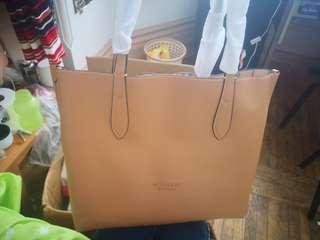 Burberry Tote Bag Handbag Leather Brown