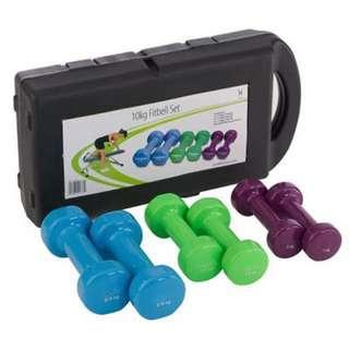 🚚 10KG Rubber Vinyl Dumbbell Set