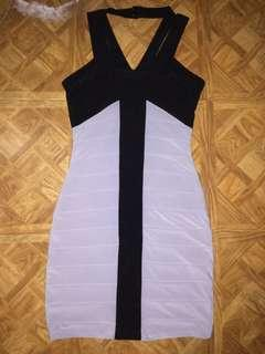 Black and gray bandage dress