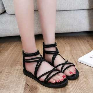 [YESSTYLE] FAUX SUEDE FLAT SANDALS