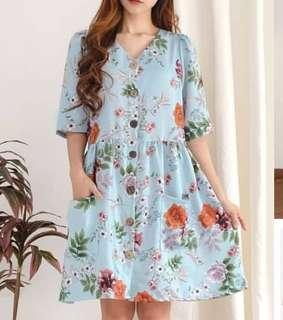 Zara look alike flower blue dress