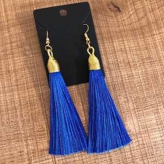Gold & navy blue elegant tassel earrings