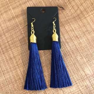 Brand new gold & dark blue elegant tassel earrings