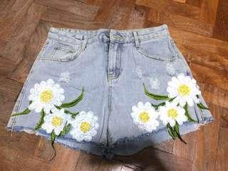 High Waisted Floral Embroidery Shorts