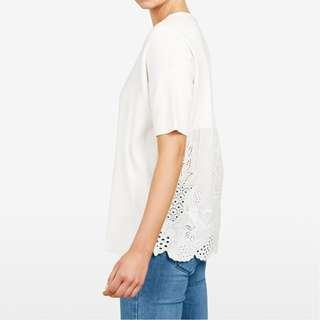 FRENCH CONNECTION white embroidered relaxed fit knit top S (AU10)