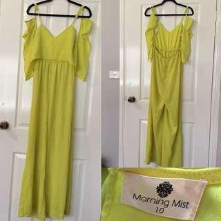 MORNING MIST Yellow Flared Jumpsuit