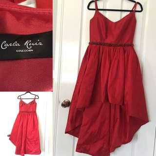 CARLA RAIZ Red Assymetrical Formal Dress