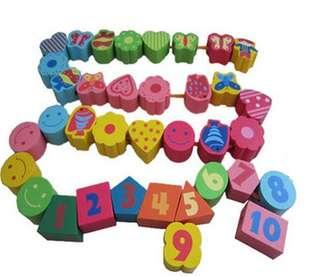 Wooden educational toy beads building block