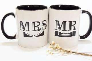 全新 new with box Mr and Mrs 情侶杯 lovers mug
