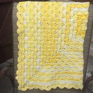 Handmade crochet yellow blanket