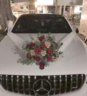 Fresh Flowers in Red Rose Rustic Design with Premium Carnations / Wedding Car