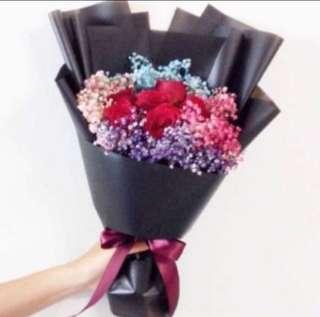 Red Roses with Rainbow Baby Breath in Korean Black Wrapping / Birthday Bouquet / Proposal Bouquet