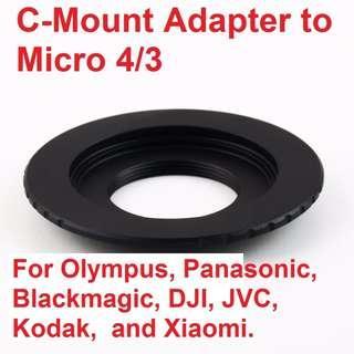🚚 New arrival, ergonomic design, C-Mount Lens to Micro Four Thirds 4/3 M4/3 Adapter for Blackmagic, DJI, JVC, Kodak, Olympus, Panasonic, and Xiaomi