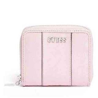NEW Guess Ware Patent Logo Monogram Small Zip Around Wallet (Pink)
