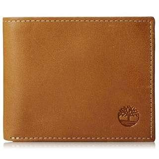 NEW Timberland Men's Cloudy Leather Wallet with Passcase (Tan Brown)