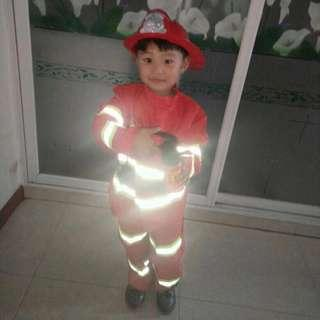 Ready Stock Size 110 Fireman Firefighter Costume, Helmet, Walkie Talkie, Fire Extinguish, Compass Toys, Hammer, Belt